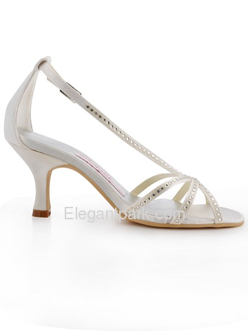 Elegantpark Pumps Rhinestone Buckle Kitten Heel Satin Wedding Bridal Shoes (A0702)