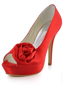 Elegantpark Red Peep Toe Flower Platform Stiletto Heel Wedding Evening Party Shoes