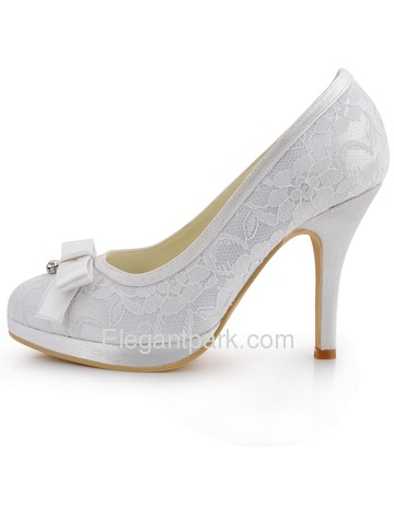 Elegantpark White Platforms Satin and Lace Evening & Party Shoes (EL-003-PF)