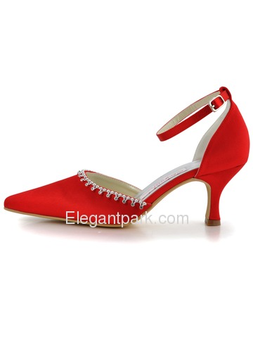 Elegantpark Red Pointy Toes Stiletto Heel Satin Wedding Bridal Shoes (EL-010)
