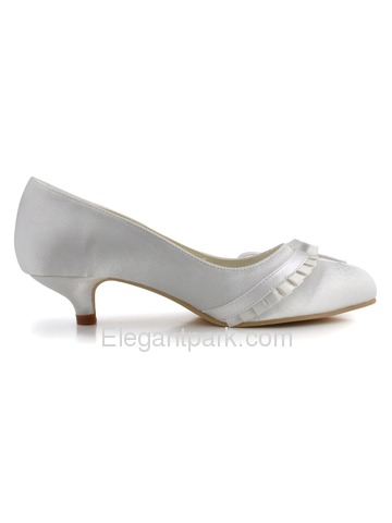 Elegantpark White Closed Toe Chunky Heel Satin Shoes (EL-032)