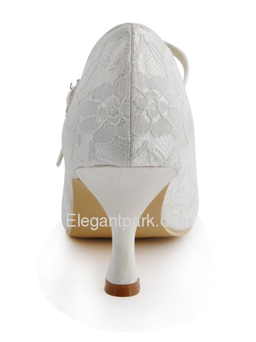 Elegantpark Pretty Ivory Round Toes Pumps Lace Wedding Bridal Shoes (EP1085)