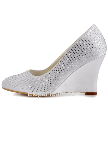 Elegantpark White Almond Toe Satin Rhinestones Wedge Wedding Evening & Party Shoes (EP2002)