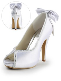 Elegantpark Peep Toe Stiletto Heel Platform Satin Bowknot Rhinestones Wedding & Party Shoes