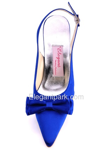Elegantpark Modern Blue Satin Pointy Toes Stiletto Heel Bridal Shoes (EP11004)