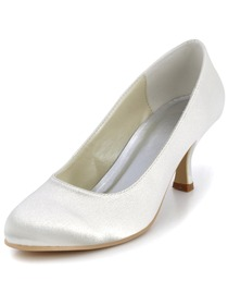 Elegant Ivory Round Toes Stiletto Heel Satin Bridal & Evening Shoes