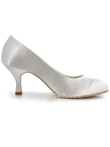 Elegant Ivory Round Toes Stiletto Heel Satin Bridal & Evening Shoes (EP11011)