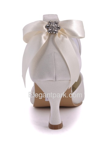Elegantpark Pointy Toes Spool Heel Bowknot Satin Bridal Pumps Shoes (EP11025)
