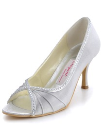 Elegantpark Silver PeepToe Satin Beading Stiletto Heel Bridal Shoes