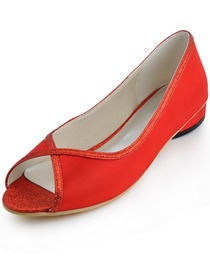 Red Peep Toe Flat Heel Satin Glitter PU Evening & Party Shoes
