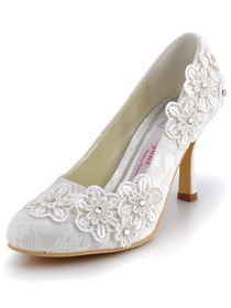 Elegantpark Ivory Almond Toe Lace Stiletto Heel Bridal Wedding Shoes with Flower
