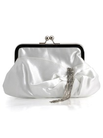Fabulous White Satin Evening Bags With Decorations