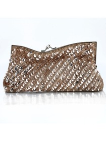 Gorgeous Champagne Satin Evening Bag With Sequin