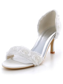 Elegantpark White Open Toe Stiletto Heel Satin Flowers with Pearls Wedding Bridal Sandals