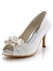 Elegantpark Ivory Peep Toe Ruffles Stiletto Heel Satin Wedding Party Shoes