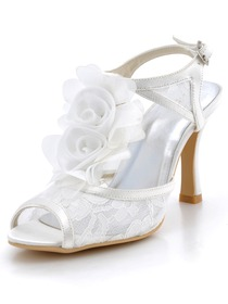 Elegantpark Modern Ivory Peep Toes Stiletto Heel Flower Lace Wedding Party Slingbacks Sandals