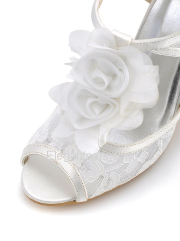 Elegantpark Modern Ivory Peep Toes Stiletto Heel Flower Lace Wedding Party Slingbacks Sandals (EP2110)