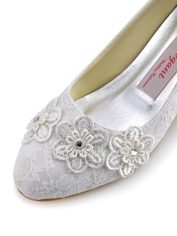 Elegantpark Ivory Closed Toe Appliques Lace Low Heel Wedding Bridal Shoes (A0002)