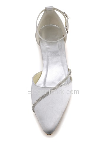 Elegantpark Strappy Pointy Toes Low Heel Beading Buckle Comfortable Bridal Shoes (A670)
