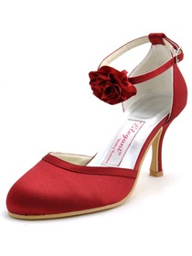 Elegantpark Burgundy Round Toe Flower Buckle Stiletto Heel Satin Wedding Evening Party Shoes