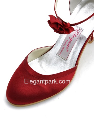 Elegantpark Burgundy Round Toe Flower Buckle Stiletto Heel Satin Wedding Evening Party Shoes (EL-01114)