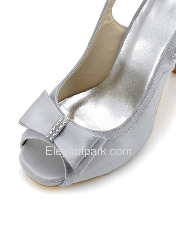 Elegantpark Peep Toe Platform Stiletto Heel Slingbacks Rhinestones Satin Bowknot Shoes (EP2042-IP)
