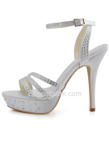 Elegantpark Satin Open Toe Stiletto Heel Platform Evening&Party Shoes With Buckle (EP11071-PF)