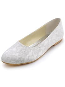 Elegantpark White Almond Toe Lace Flat Wedding Evening Party Shoes