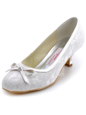 Elegantpark Ivory Almond Toe Bowknot Lace Wedding Evening & Party Shoes (WM-017)