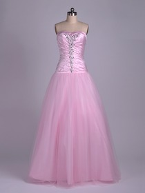 Pink A-Line Fluted Sweetheart Floor-length Satin Netting Quinceanera Dress