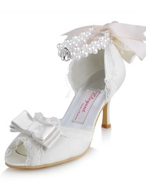 Elegant Peep Toe Stiletto Heel Bowknot Satin Bridal Evening Party Shoes