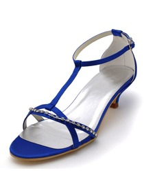 Elegantpark Blue Open Toe Rhinestone Low Heel Buckle Satin Wedding Party Sandals