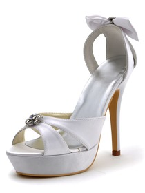 Elegantpark White Open Toe Rhinestones Stiletto Heel Platform Wedding Bridal Bowknots Sandals