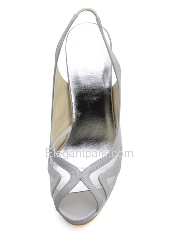 Elegantpark Silver Peep Toe Stiletto Heel Satin Platform Wedding Party Slingback Sandals (EP2117-PF)