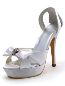 Elegantpark White Stiletto Heel Satin Rhinestones Bowknots Platform Wedding Party Sandals