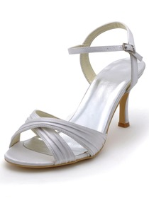 Elegantpark White Open Toe Buckle Stiletto Heel Satin Pleats Wedding Evening Party Sandals