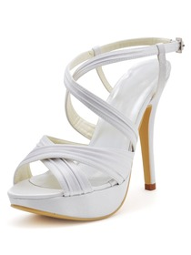 Elegantpark White Open Toe Platform Stiletto Heel Pleats Satin Bridal Sandals with Cross Buckle