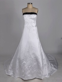 White and Purple A-Line Strapless Embroidery Chapel Train Satin Wedding Dress