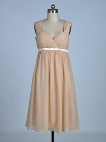 Champagne Sheath Ruched Straps Knee-length Chiffon Bridesmaid Dress