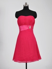 Fuchsia A-Line Strapless Ruched Knee-Length Chiffon Short Bridesmaid Dress