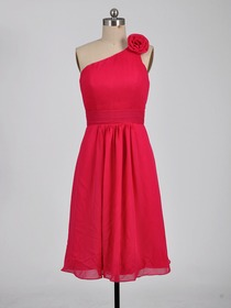 Fuchsia Sheath One Shoulder Knee-length Chiffon Bridesmaid Dress With Wrap