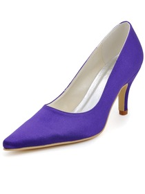 Elegant Purple Pointy Toe Stiletto High Heel Satin Prom Shoes