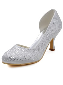 Elegantpark Fashion Women Pumps EP2129 White Round Toe Rhinestone Spool Heel Satin Wedding Shoes