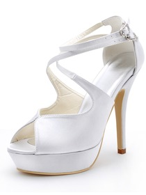 Elegantpark White High Heel Shoes Peep Toe Cross Straps Stiletto Heel Platform Satin Wedding Sandals