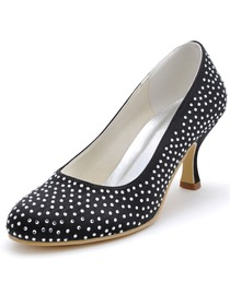 Elegantpark Fashion Woman Pumps Black Round Toe Rhinestone Spool High Heel Satin Prom Shoes