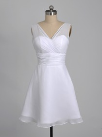 White A-line V-Neck Ruched Knee Length Chiffon Short Bridesmaid Dress