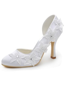 Elegantpark White Almond Toe Embroidery Flower Rhinestone Spool Heel Satin Wedding Shoes