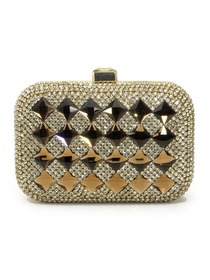 Gold Square Rhinestone Satin Acrylic Women Clutches Evening Party Handbag