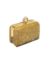 Gorgeous Gold Square Handbag Rhinestone Satin Wedding Party Clutch