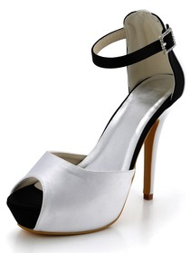 Elegantpark Black and White Peep Toe Ankle Strap Platform Stiletto Heel Wedding Pumps